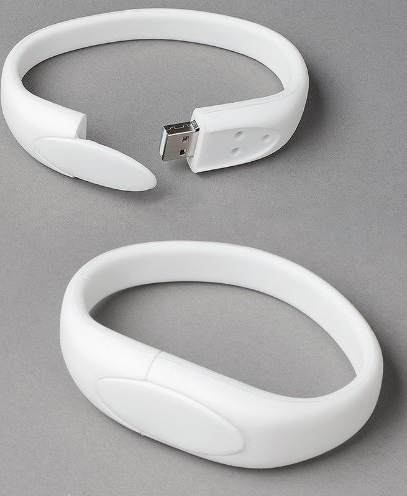 White Wristband USB Flash Memory Drive 16GB