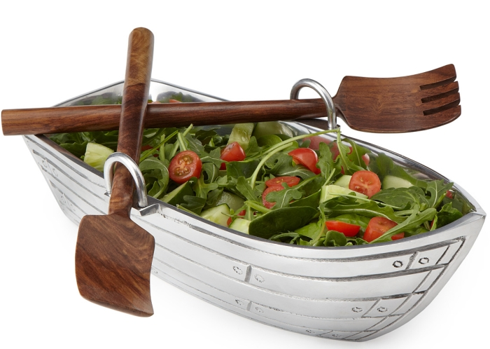 BOAT SALAD BOWL WITH WOOD SERVING UTENSILS