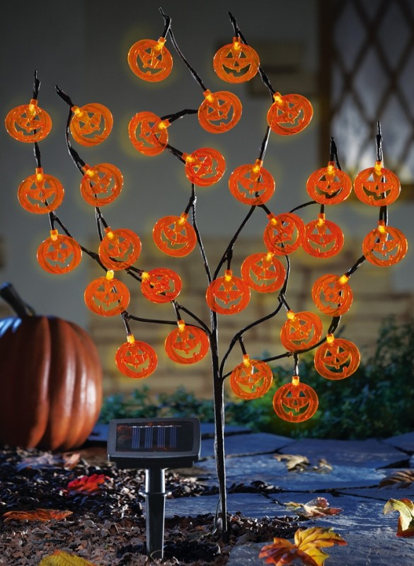 Solar Lighted Halloween Pumpkin Tree Stake