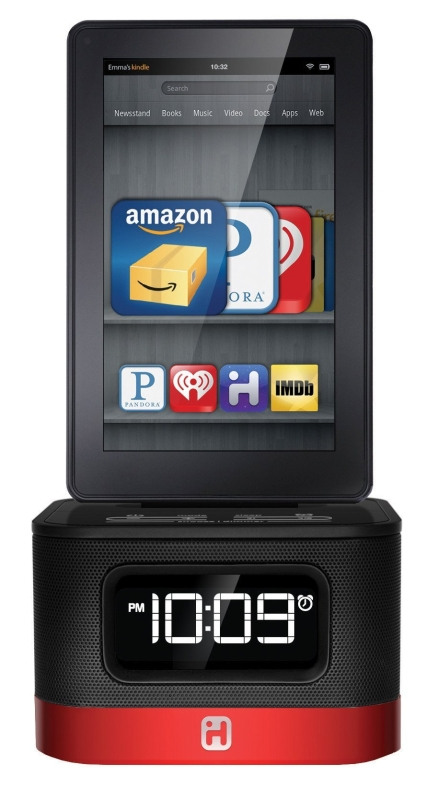 iHome iK50B SMARTDESIGN Space Saver FM Stereo Alarm Clock/Charger for Kindle Fire