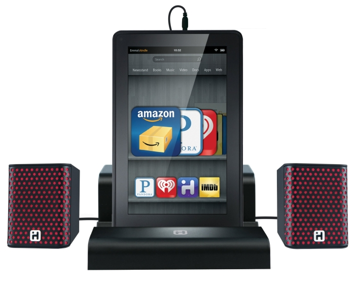 Rechargeable Portable Speakers with Travel Case/Stand for Kindle Fire