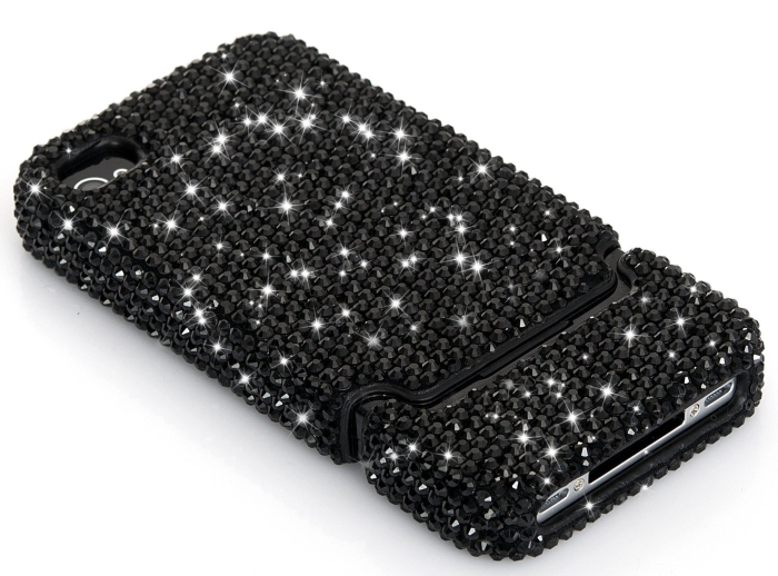 Luxury Black Crystal Bling Rhinestone Slider Full Cover Case for AT&T Verizon Sprint iPhone 4 4S