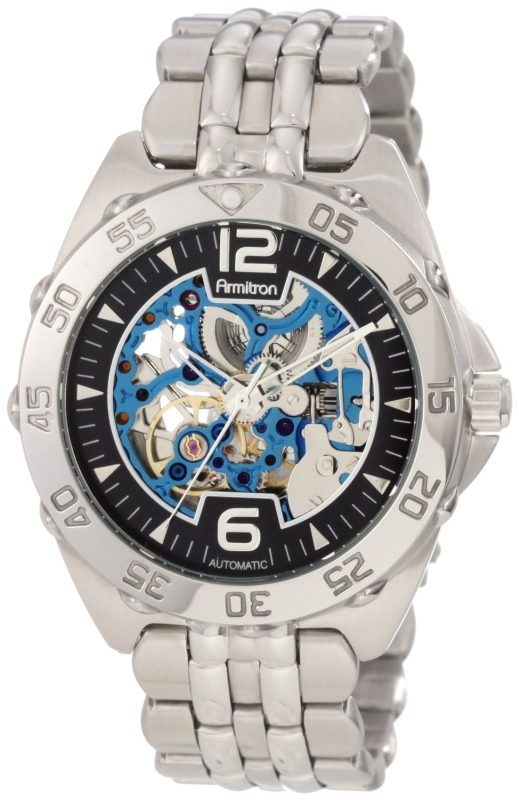 Armitron Men's 20/4768BISV Automatic Silver-Tone and Blue Accented Dress Watch