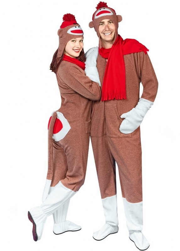 Adult Sock Monkey Pajama Costume