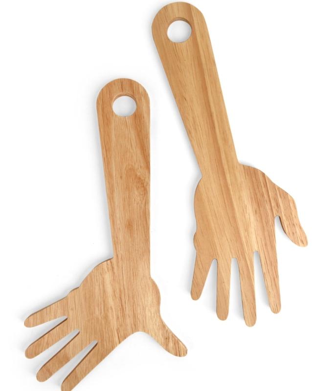 Hand Tossed Wooden Salad Servers