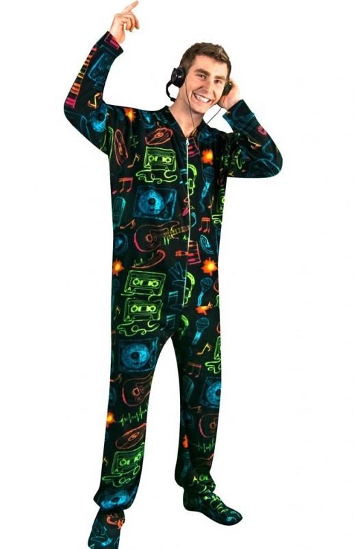 80s Pop Music Print Black Polar Fleece Butt Flap One Piece Pajamas