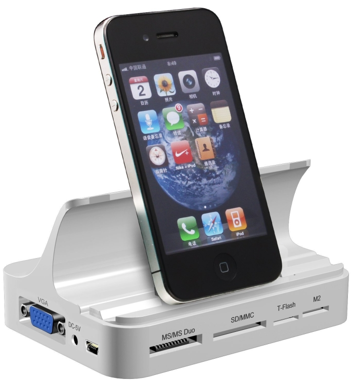 Mini Portable Docking Station With Charging, HDMI, Component A/V Cable And VGA Ports For Apple iPad, iPhone And iPod