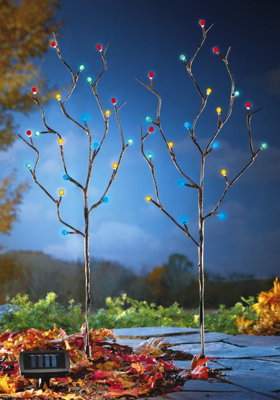 Solar Lighted Pussy Willow Garden Stakes
