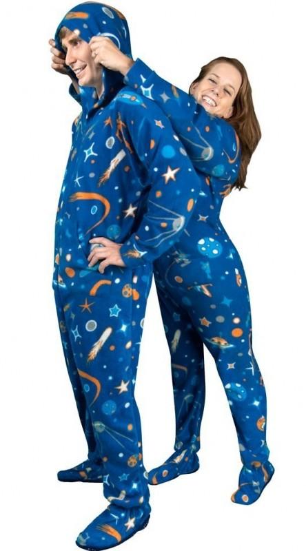 Space Print Fleece Hooded Footie Pajamas