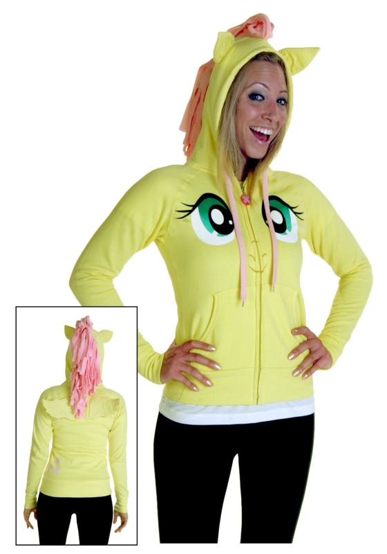 My Little Pony Fluttershy Pegasus Face Juniors Butter Yellow Costume Hoodie