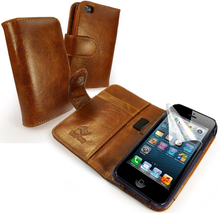 Vintage Leather Wallet-Style Case Cover for Apple iPhone 5