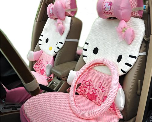 Kitty 3D Auto Car Rearview Front Rear Seat Saddle Cover