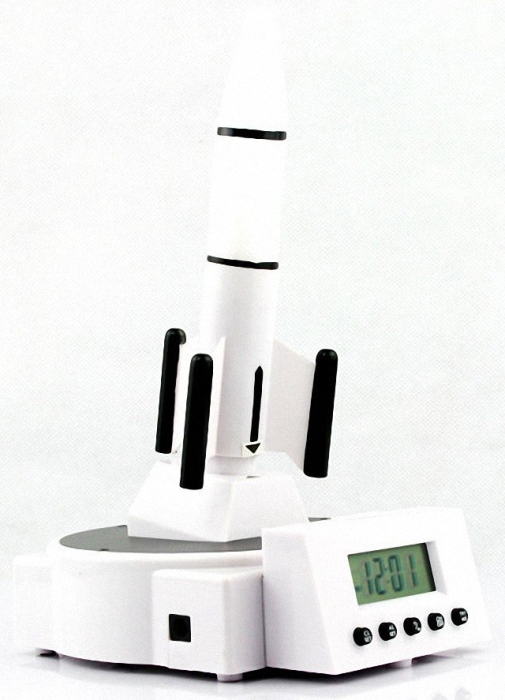 Digital Alarm Clock with Launching Rocket