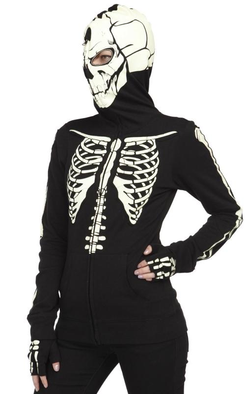 Runaway Skeleton Hottie Mask Hoodie