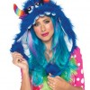 Furry Monster Hood With Pom Pom Ties