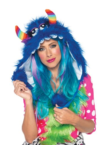Furry Monster Hood With Pom Pom Ties