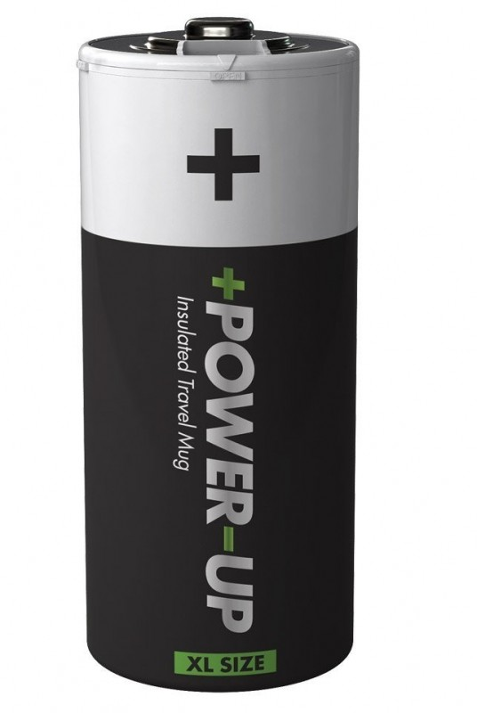 Power Up Travel Flask Battery Shaped Insulated Travel Mug