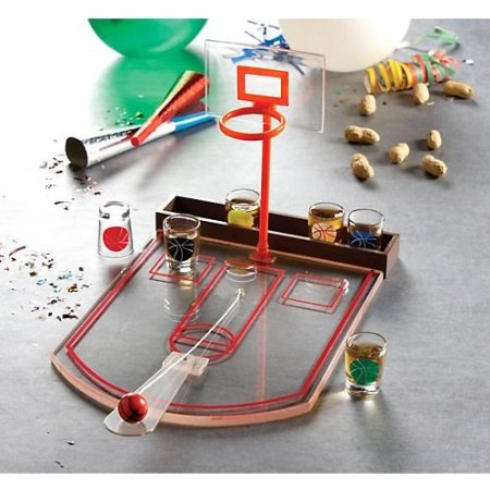 Glass Basketball Bar Game Set