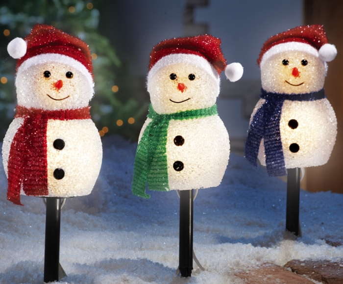 Holiday Snowman Outdoor Lighted Pathway Markers