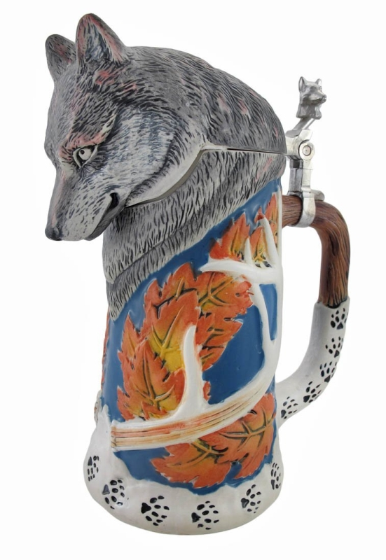 Wolf Beer Stein with Lid