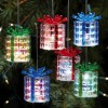 Color Changing Lighted Gift Box Ornaments - Set of 6