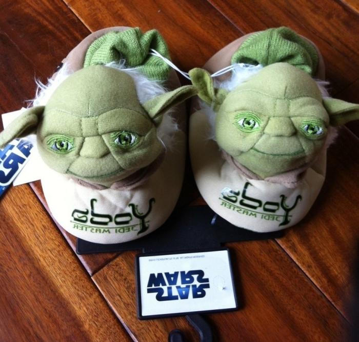 Star Wars Yoda Slipper with Sock Cuff and Yoda Head