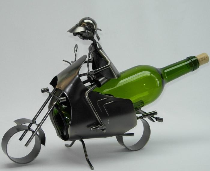Caddy Motocyclist Metal Wine Bottle Holder