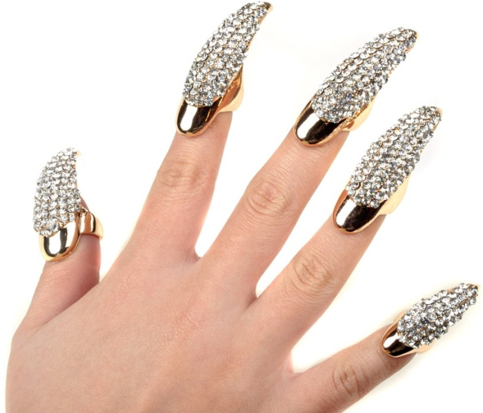 5X False Nail Clear Crystal Claw Paw Talon Finger RING