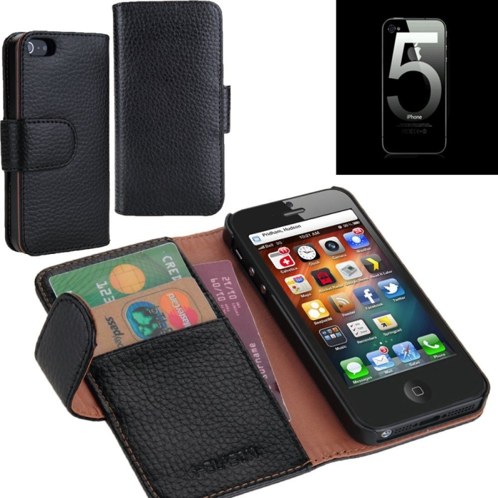 Leather Book Folio Wallet Case for iPhone 5