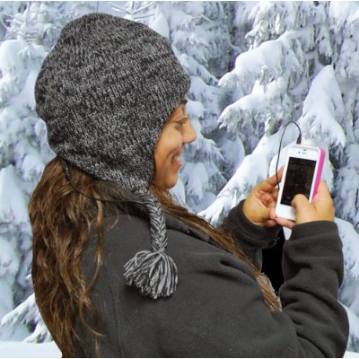 Aviator Style Knit Hat with Earflaps and Built-In Stereo Headset