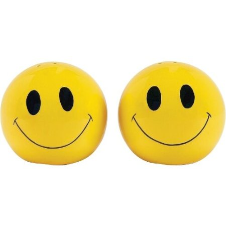 Happy Kitchen Yellow Earthenware Smiley Face Salt & Pepper Shaker Set
