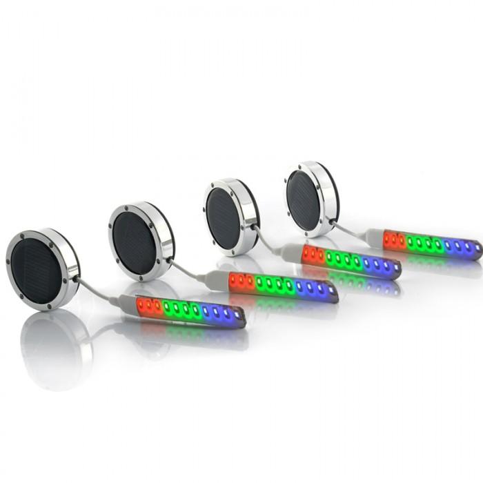 4x LED Car Wheel Lights - Multi-Color, Solar + Battery Powered