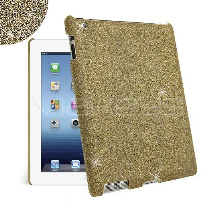 Gold Fine Sparkle Glitter Back Cover Case for Apple New iPad / iPad 3 / iPad 2