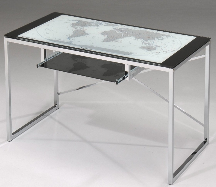 Chrome Plated With World Globe On Glass Top Computer Desk