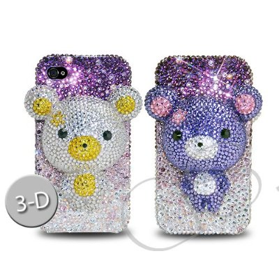 Bear 3D Flip Bling Swarovski Crystal iPhone 4 and 4S Cases