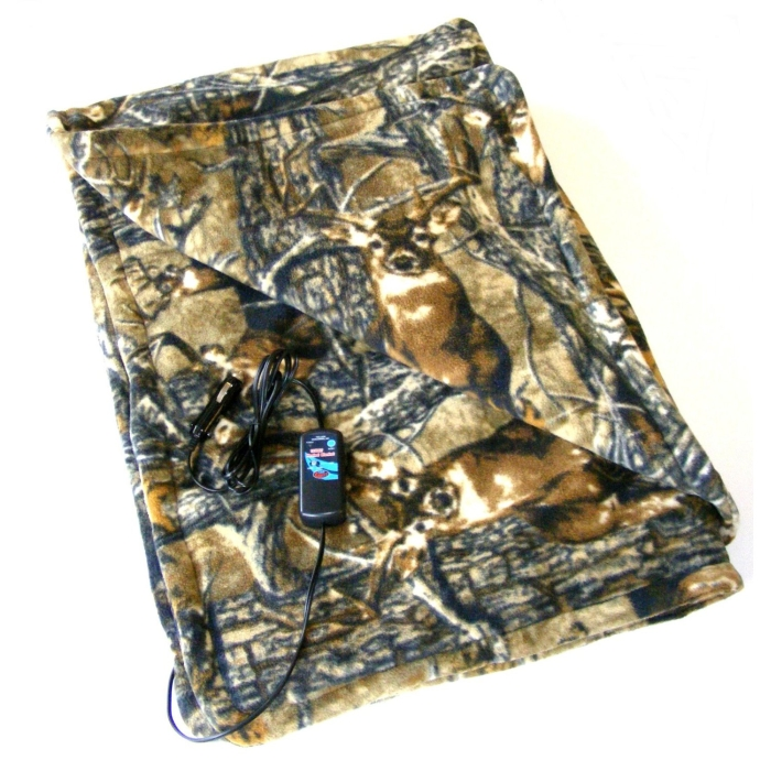 Heated Camo Cozy Polar Fleece Blanket