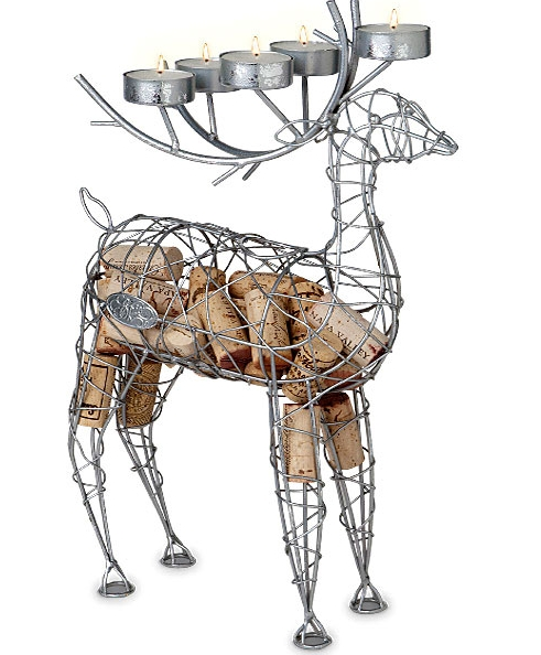Dashing Deer Wine Cork Cage and Candelabra