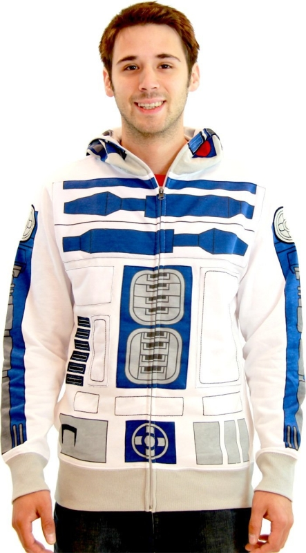 Star Wars R2-D2 Adult White Costume Zip Up Sweatshirt