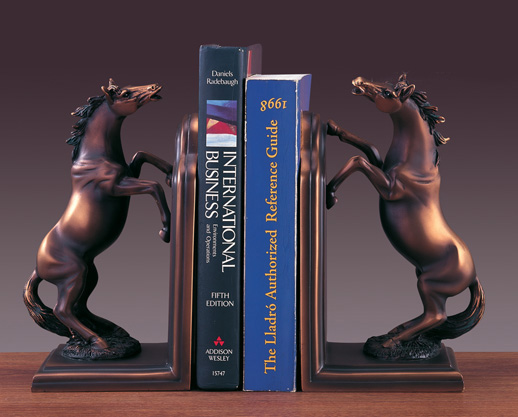 Bookends Set Horse Bronze Plated Statue Sculpture NIB