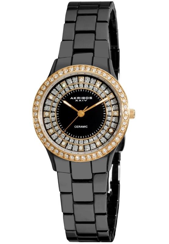 Akribos XXIV Women's AK509BKG Slim Ceramic Watch