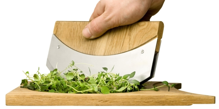 Oval Oak Mezzaluna with Cutting Board Bowl
