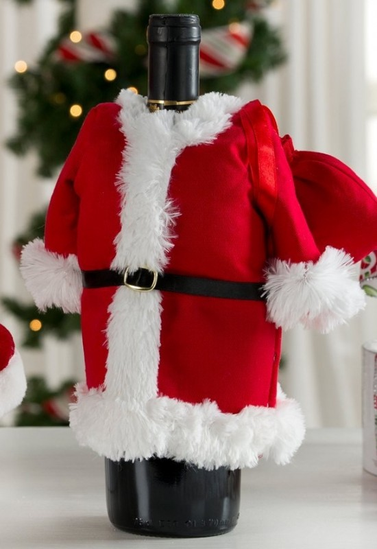 Santa Suit with Toy Bag Wine Bottle Cover