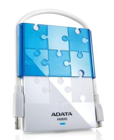 ADATA DashDrive HV610 1TB USB 3.0 External Hard Drive, White