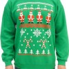 Snowflake and Candy Cane Design Adult Green Sweatshirt