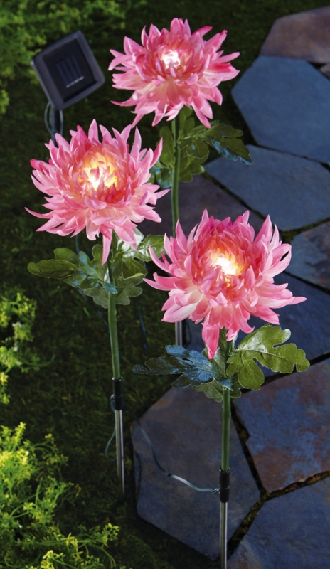 Solar Lighted Peony Flower Stakes 7 Gadgets