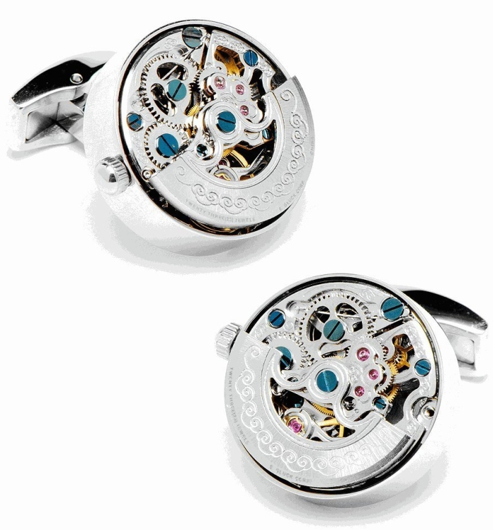 Amazon.com  Stainless Steel Silver Kinetic Watch Movement Cufflinks - MAIN