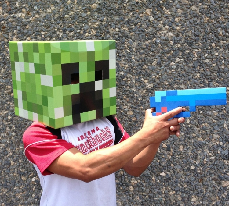 8 Bit Pixelated Blue Diamond Foam Gun