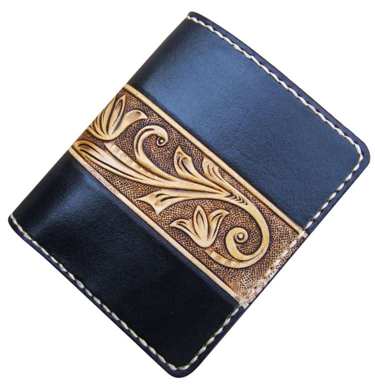 Handmade Leather Craft Wallet Black Carved with Ivory Tang Dynasty flower Design