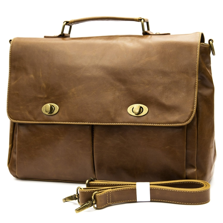 Leather Portfolio Carrying Briefcase Messenger Bag Unisex Brown