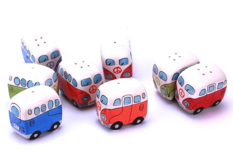 VW Camper Van  Bus - Ceramic Salt & Pepper Shaker Set